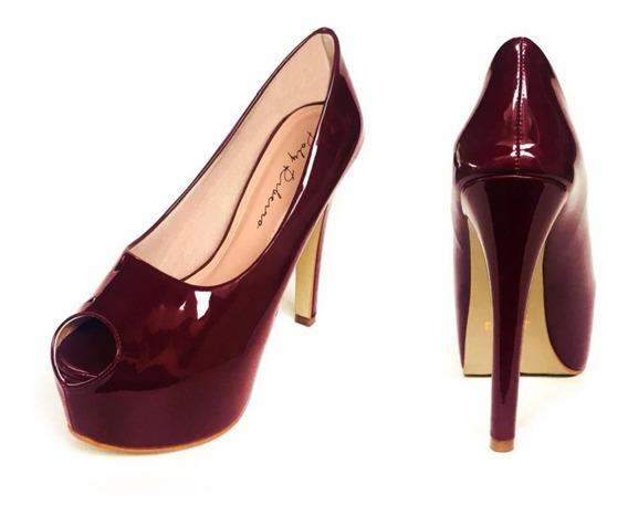 Sapato Peep Toe Meia Pata Salto Fino 13 E 15 Cm Várias Cores