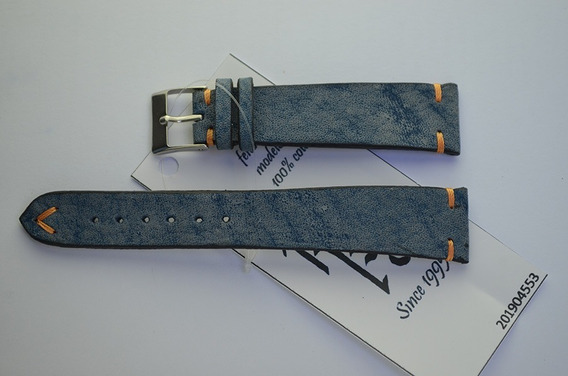 Pulseira Rfóz Couro Azul Jeans - Moonlight 20mm - 201904553
