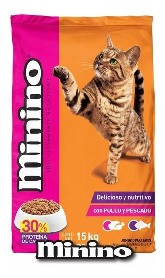 Minino Original 15kg Croqueta Alimento Gato Todas Las Etapas