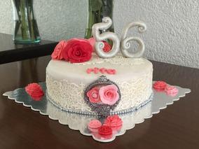 Pastel Decorado Fondant Betún Cumpleaños 15 Años Boda Evento