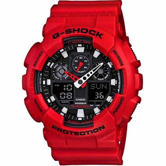 Relógio Masculino Casio G-shock Ga-100b-4adr - Vermelho