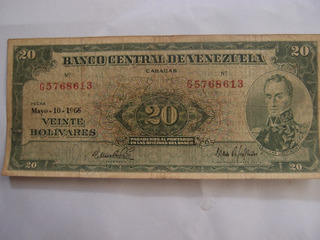 Billete Antiguo De 20 Bs 1966