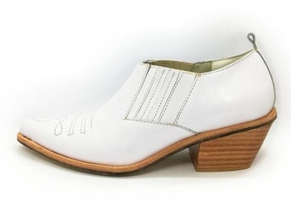 Charrito Mujer Cuero Blanco Tipo Tejano 2020