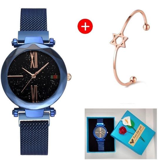 Relógio De Pulso Feminino + Bracelete + Caixinha: Azul