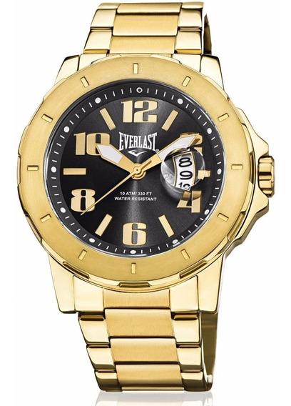 Relógio Everlast Masculino Dourado Analógico E642