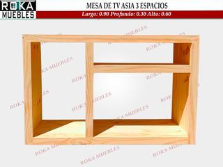 Mesa De Tv Asia Con 3 Espacios 0.90x0.30x0.60 Pino Roka