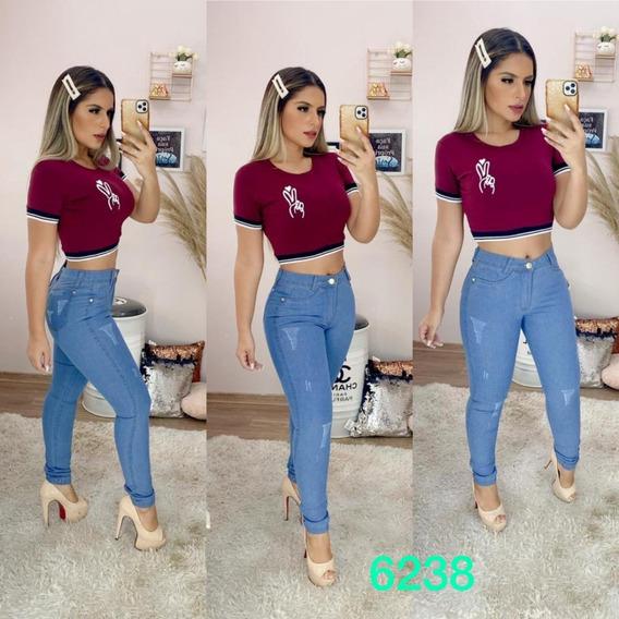 Kit 3 Calças Jeans Feminina Cintura Alta