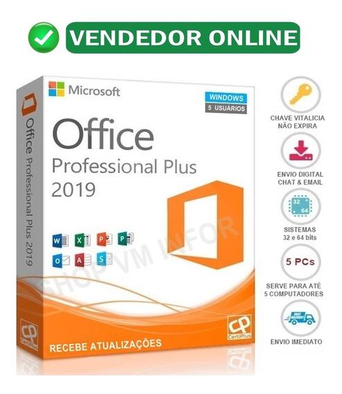 Pacote Office 2019 Pro Vitalício + Chave Original + 5 Pcs