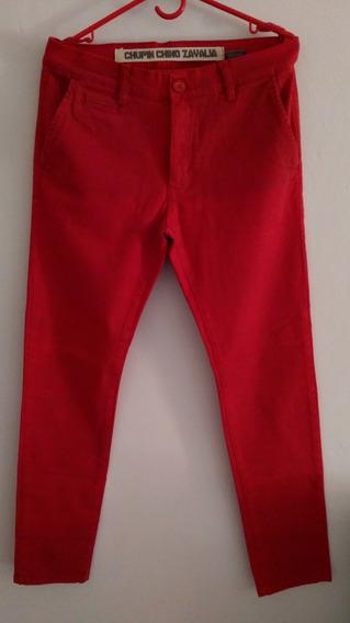Pantalón Chupin Chino Rojo Marca Bolivia - Talle 32