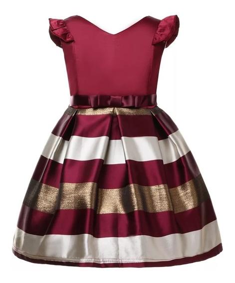 Vestido Niña Elegante Cumpleaños / Rayas Doradas