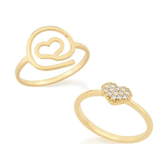 Kit 2 Anéis Folheados Ouro Coração Arroba E Zircônias Bonito