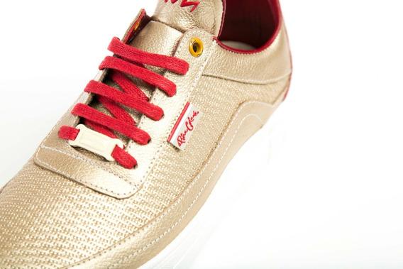 Tenis Mujer Zapatos Sneakers Zapatillas Cuero Florencia Oro