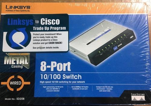 Imagen 1 de 3 de Switch Linksys Cisco 8 Puertos Sd208