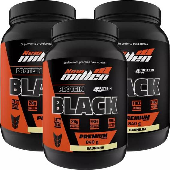 Kit 3x Whey Protein Isolado Concentrado Black 2,5kg Total