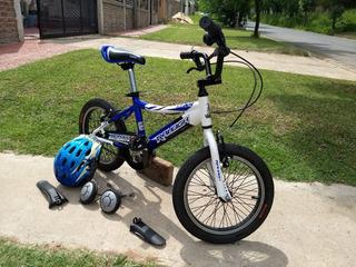 Bicicleta R16 Raleigh Mxr C/rueditas Y Casco. Excelente