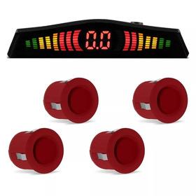 Sensor Estacionamento Ré Vermelho 4 Sensores Display Sonoro