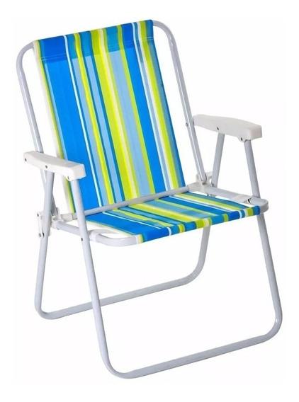 Cadeira De Praia Alta Dobrável Em Aço Cores Diversas