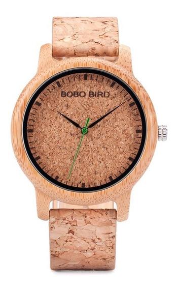 Relógio Feminino Bambu Madeira Anal. Bobo Bird Cortiça M12
