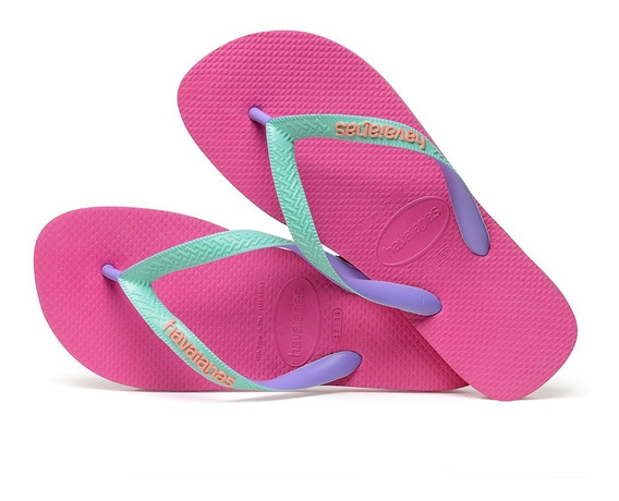 Sandálias Havaianas Chinelo Masculino Top Mix Rosa Hollywood