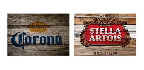 2 Quadros Madeira Rústico Cervejas Corona E Stella Artois