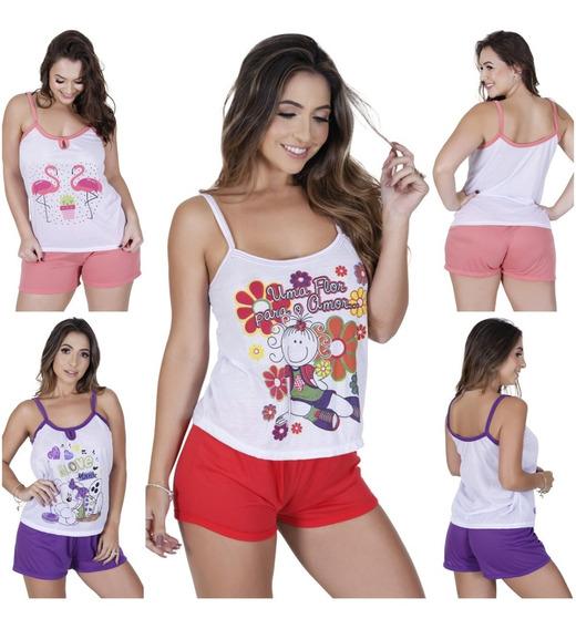 Kit 15 Pijama Feminino Adulto Blusinha Regata Alça E Short Baby Dool Atacado Melhor Preço Pijaminha Revenda Barato