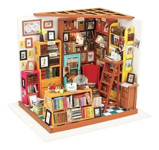 Casa Armable Miniatura De Madera Con Luz Led Librería 23 Cm