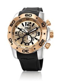Relógio Everlast Cronógrafo Caixa Aço E Pulseira Siliconee55