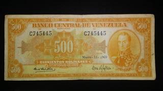 Billete 500 Bolivares Canario 1969