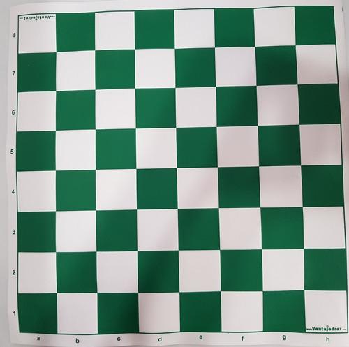 Tablero De Cuerina Ajedrez  Color Verde Con Nomenclatura