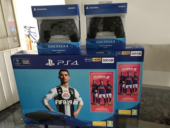 Ps4 Playstation 4 Slim 500gb Original Novo Com Fifa 2019