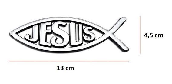 Acessório Para Carro Adesivo Peixe Jesus Metálico Evangélico
