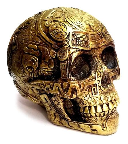 Cráneo Decorativo Dorado Hecho En Mexico Azteca