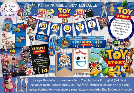 Kit Imprimible Candy Bar Toy Story 4 100% Editable