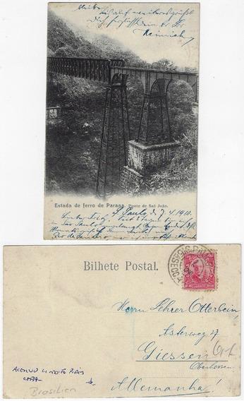 Paraná 1910 Cartão Postal Foto Ponte São João Ferrovia