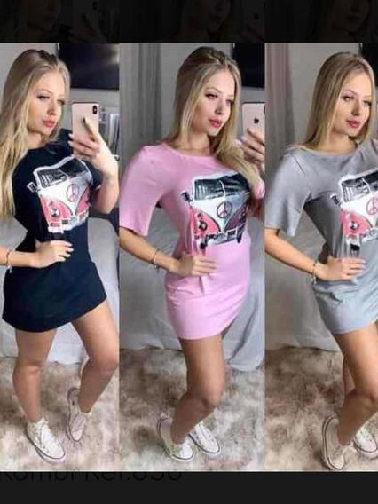 Vestido Feminino Curto Camiseta Camisetão Kombi Roupa Top
