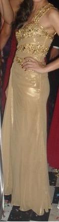 Vestido Longo De Gala / Festa - Dourado - Tam: P