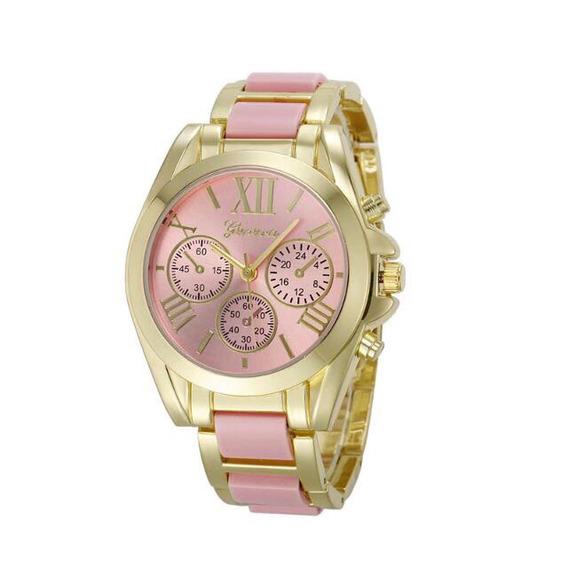 Relógio Dourado E Rosa Feminino