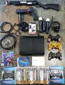 Playstation 3 Super Slim 23 Jogos Kit Move C/ Armas 5 Cntrls