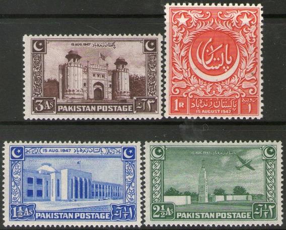 Pakistán Serie 4 Sellos Nuevos Fuerte, Aeropuerto, Año 1948