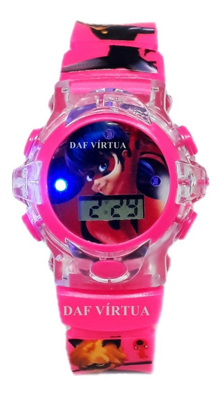 Relógio Miraculous Ladybug Infantil C/ Som Luzes 3d Original