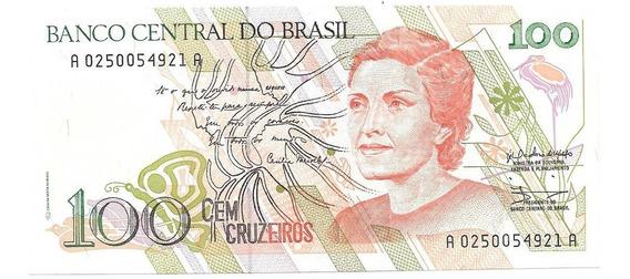 Billete Brasil 100 Cruzeiros Año 1990 Sin Circular