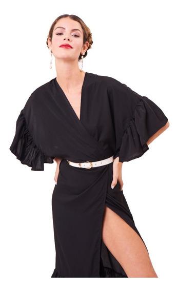 Vestido Amplio Largo Con Volados Negro Fiesta Elegante Moda
