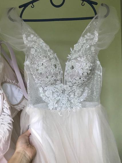 Vestido De Novia Blanco Costuras Flores