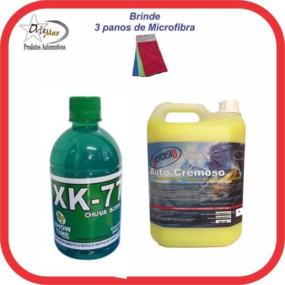 Xk-77 Removedor Chuva Ácida 500ml+05lts Shampoo Cera+brinde