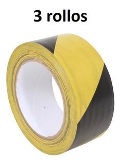 Cinta Marcaje Amarillo Negro 33m X 2pulg Pvc [3 Rollos]