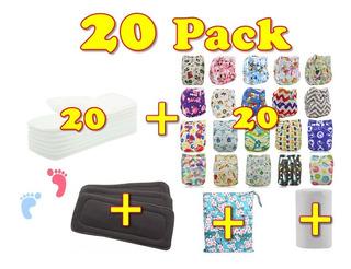 Super Pack 20 Pañales Ecológicos Estampados