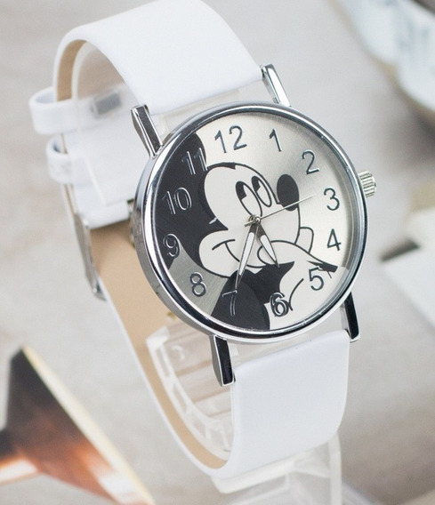 Relógio Mickey Feminino Rg004f Pulseira Branca Promoção!!!