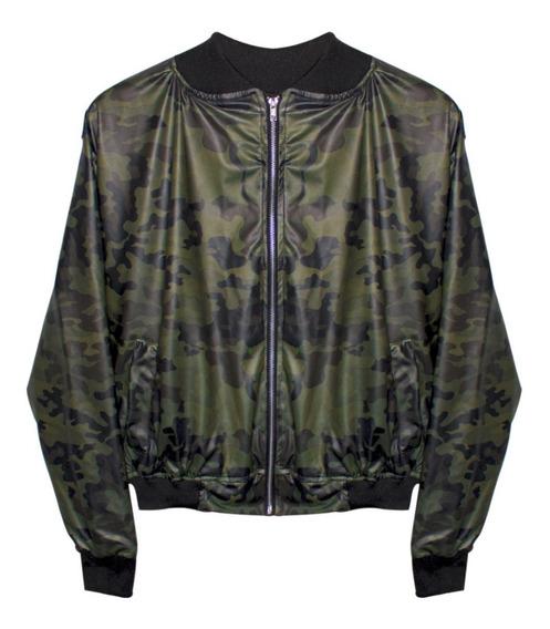 Chamarra Bomber Jacket Camuflaje Militar Verde Hype Moda