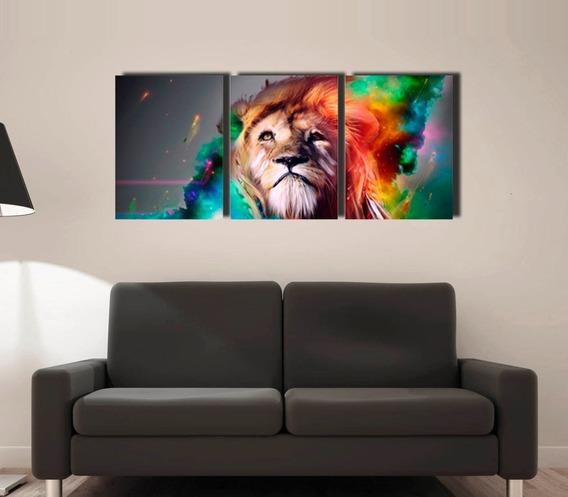 Cuadro Triptico León Colores