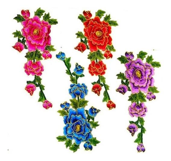 Aplique Patch Flores Vermelhas, Azuis E Rosas Para Aplicação